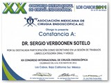 Certificate of Participation at the XX International Endoscopic Surgery Congress (May 2011)