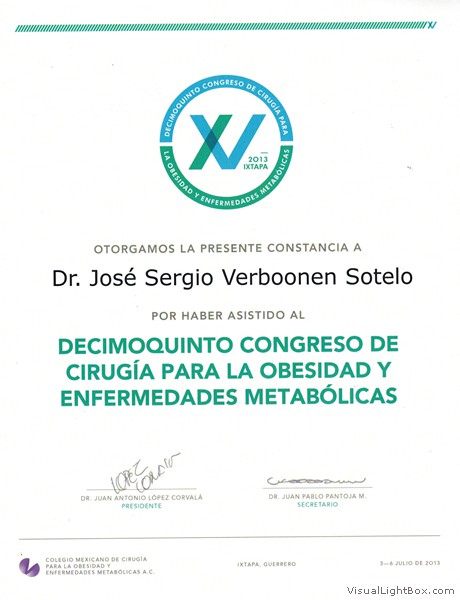 Mexican College of Obesity Surgery & Metabolic Illnesses Congress Attendance document proof (July 2013)