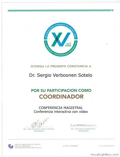Participation as a coordinator at the Mexican College of Obesity Surgery & Metabolic Illnesses Conference. (July 2013)