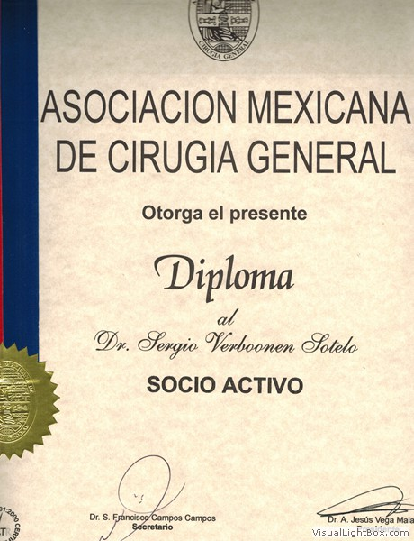 Diploma from the Mexican Association of General Surgery