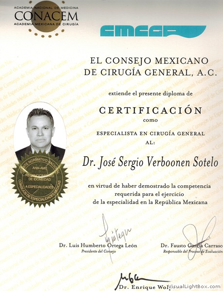 General Surgery Specialist Certification from the National Academy of Medicine and General Surgery